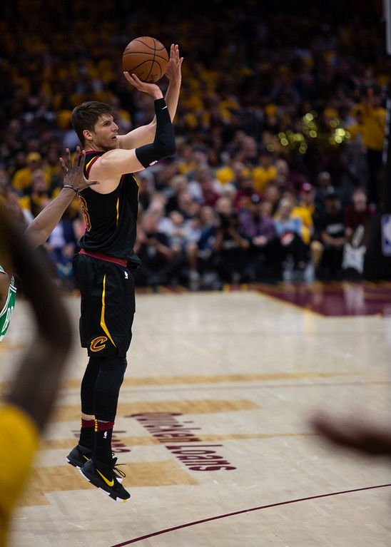 . Michael Johnson - The News-Herald Cleveland\'s Kyle Korver shoots a three during game 3 of the Eastern Conference finals on May 19, 2018.