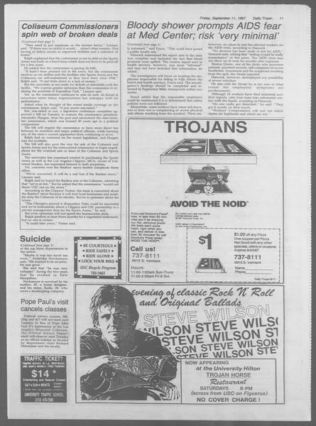 Daily Trojan, Vol. 105, No. 7, September 11, 1987