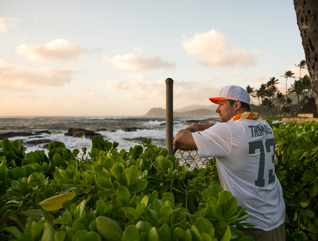 . Cleveland Browns offensive tackle Joe Thomas looks out toward the ocean during the NFL football Pro Bowl draft, Wednesday, Jan. 22, 2014, Kapolei, Hawaii. (AP Photo/Marco Garcia)
