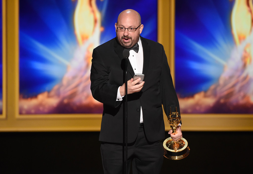 ". Bryan Eber accepts the award for outstanding picture editing for a structured or competition reality program for ""United Shades of America with W. Kamau Bell\"" during night two of the Television Academy\'s 2018 Creative Arts Emmy Awards at the Microsoft Theater on Sunday, Sept. 9, 2018, in Los Angeles. (Photo by Phil McCarten/Invision/AP)"