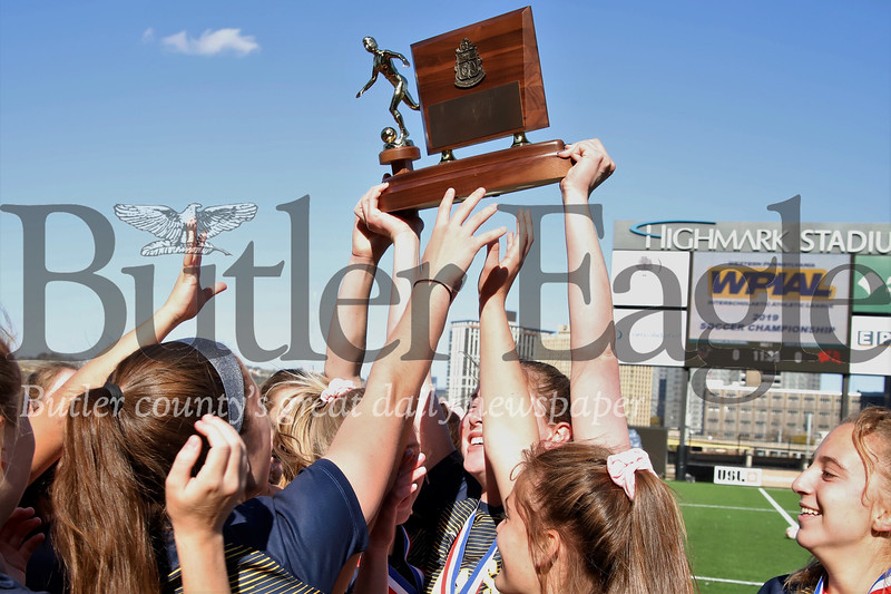 Mars girls soccer players celebrate their 4-0 AAA WPIAL Championship win over Plum Saturday at Highmark Stadium in Pittsburgh. The Planets were defeated in their previous two finals appearances. Seb Foltz/Butler Eagle