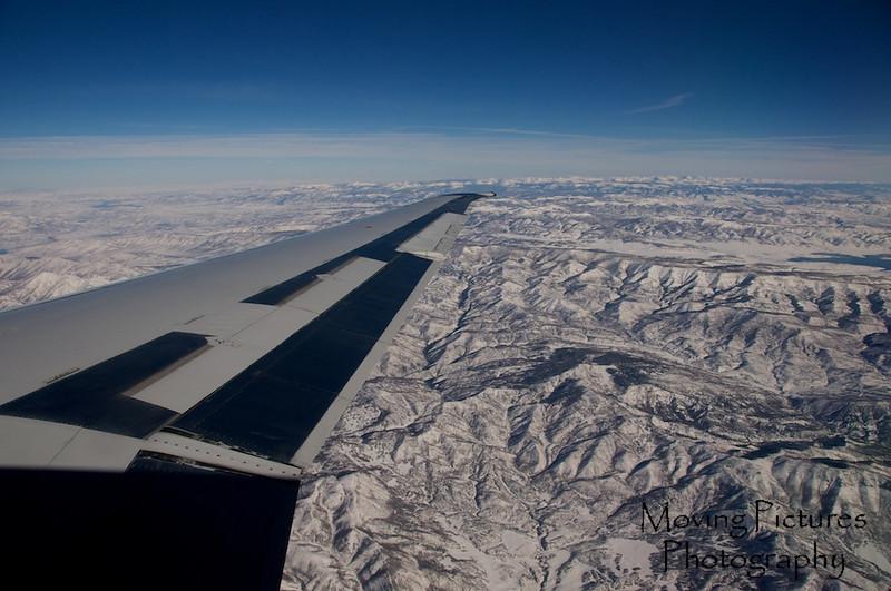Crossing over Arizona into snow-covered Utah