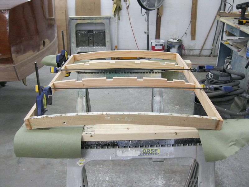 Front view of new engine hatch framing. Front frame is the original pice with the hull number stamped in it.