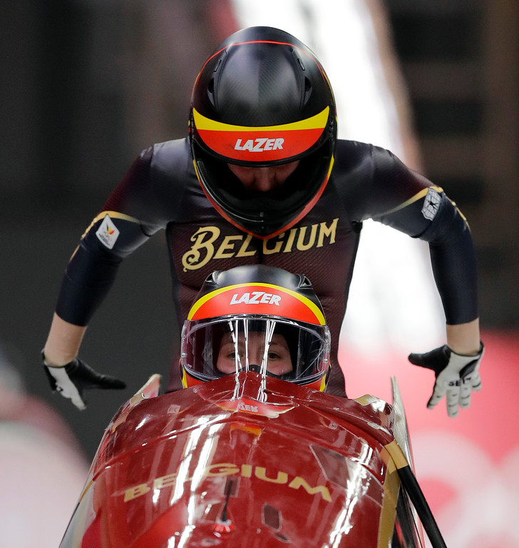 . Driver An Vannieuwenhuyse and Sophie Vercruyssen of Belgium start their third heat during the women\'s two-man bobsled final at the 2018 Winter Olympics in Pyeongchang, South Korea, Wednesday, Feb. 21, 2018. (AP Photo/Wong Maye-E)