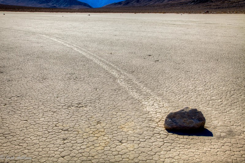 Moving Rocks at Racetrack Playa in Death Valley, CA.