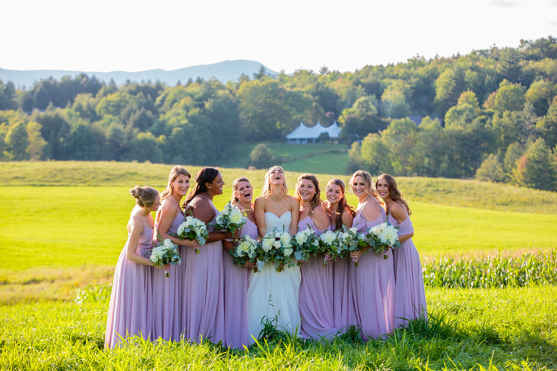 Bride and bridesmaids in Stowe, VT