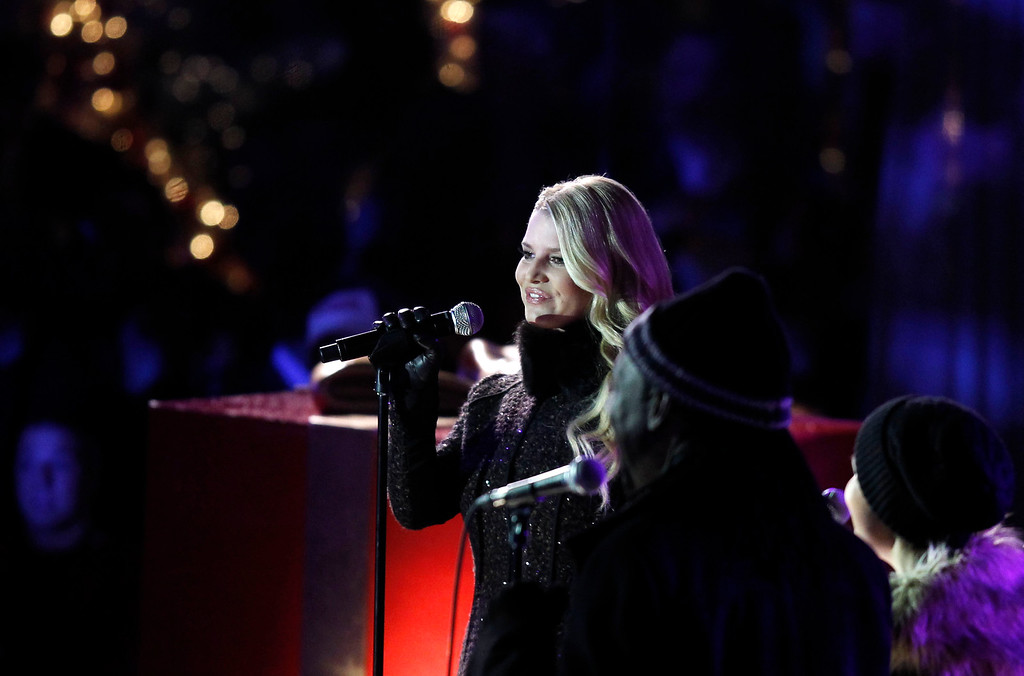 . Singer Jessica Simpson performs during the 78th annual Rockefeller Center Christmas tree lighting ceremony Tuesday, Nov. 30, 2010, in New York. (AP Photo/Jason DeCrow)