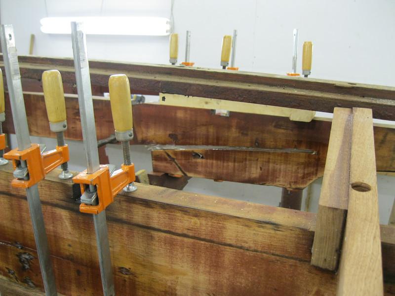 In side view of stringer repair.