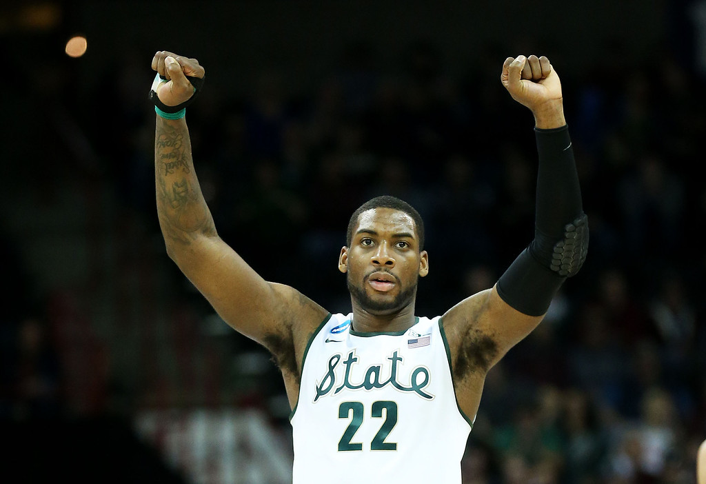 . SPOKANE, WA - MARCH 22:  Branden Dawson #22 of the Michigan State Spartans celebrates in the second half against the Harvard Crimson during the Third Round of the 2014 NCAA Basketball Tournament at Spokane Veterans Memorial Arena on March 22, 2014 in Spokane, Washington.  (Photo by Stephen Dunn/Getty Images)