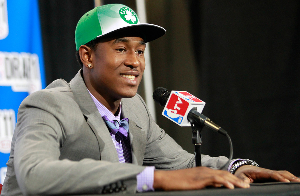 . Providence guard Marshon Brooks talks to reporters after being selected by the Boston Celtics during the NBA basketball draft, Thursday, June 23, 2011, in Newark, N.J. (AP Photo/Julio Cortez)