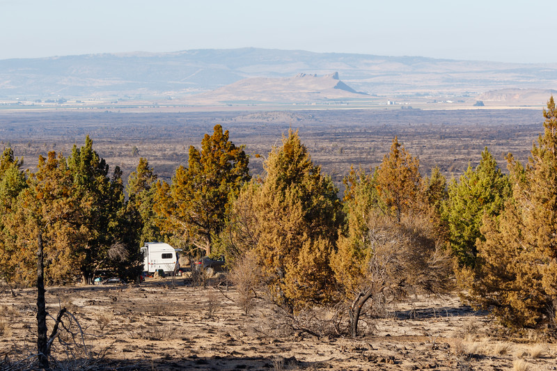 Indian Wells campground with small trailer in lava beds national monument - Lava Beds Campground Road, Tulelake, California, United States (US)