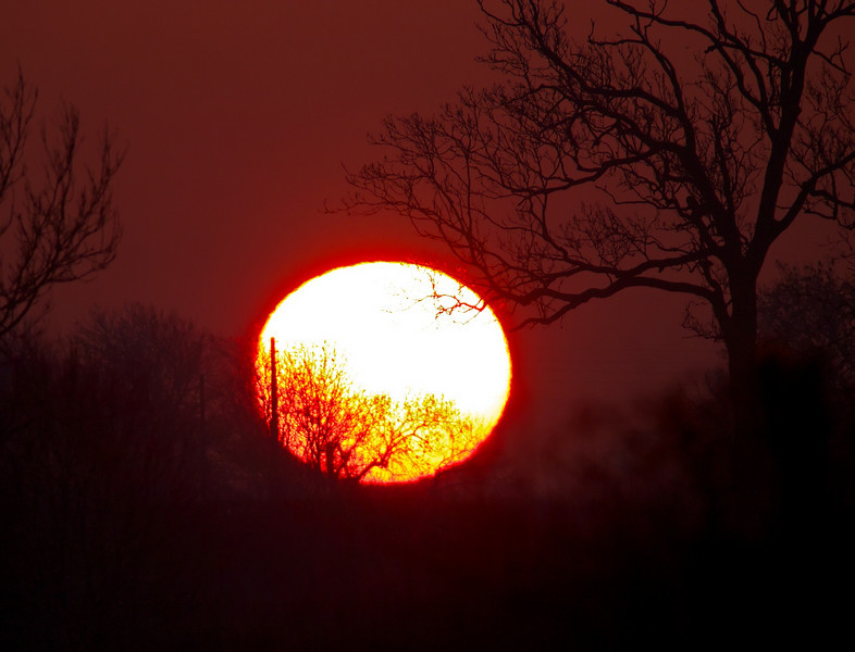 08 March 2011. Cracking sunrise this morning. Clear skies and a blood red sun rising through the pollution layers made for a cracking shot. Just got away without a solar filter.  Captured with Olympus E5, 90-250mm & EC-20 (x2 TC).