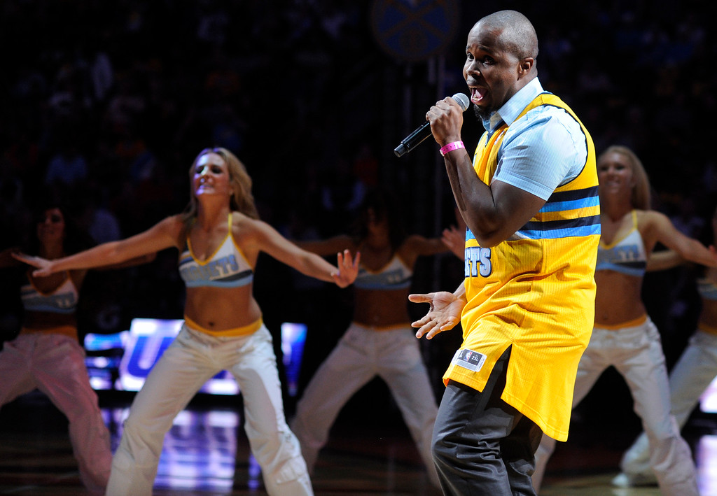 . DENVER, CO. - NOVEMBER 1:  R&B recording artist Bryson Bernard performed his hit Cupid Shuffle during halftime Friday night. The Denver Nuggets were defeated by the Portland Trail Blazers 113-98 Friday night, November 1, 2013 at the Pepsi Center.  The Nuggets are winless after two games. Photo By Karl Gehring/The Denver Post
