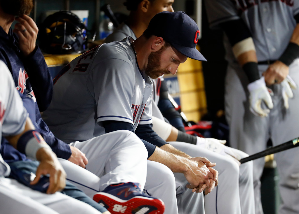 . Cleveland Indians relief pitcher Zach McAllister sits on the bench in the ninth inning of a baseball game against the Detroit Tigers in Detroit, Monday, May 14, 2018. Detroit won 6-3. (AP Photo/Paul Sancya)