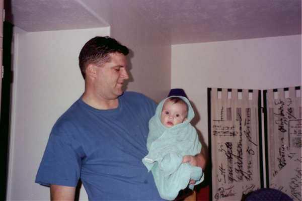 99 Allen after a bath w Dad.JPG