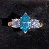 1.73ctw Blue Marquise Cut Diamond Trilogy Ring 2