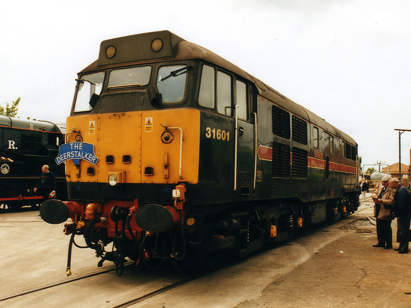 31601 sits on display at Crewe Works on the 20th May 2000