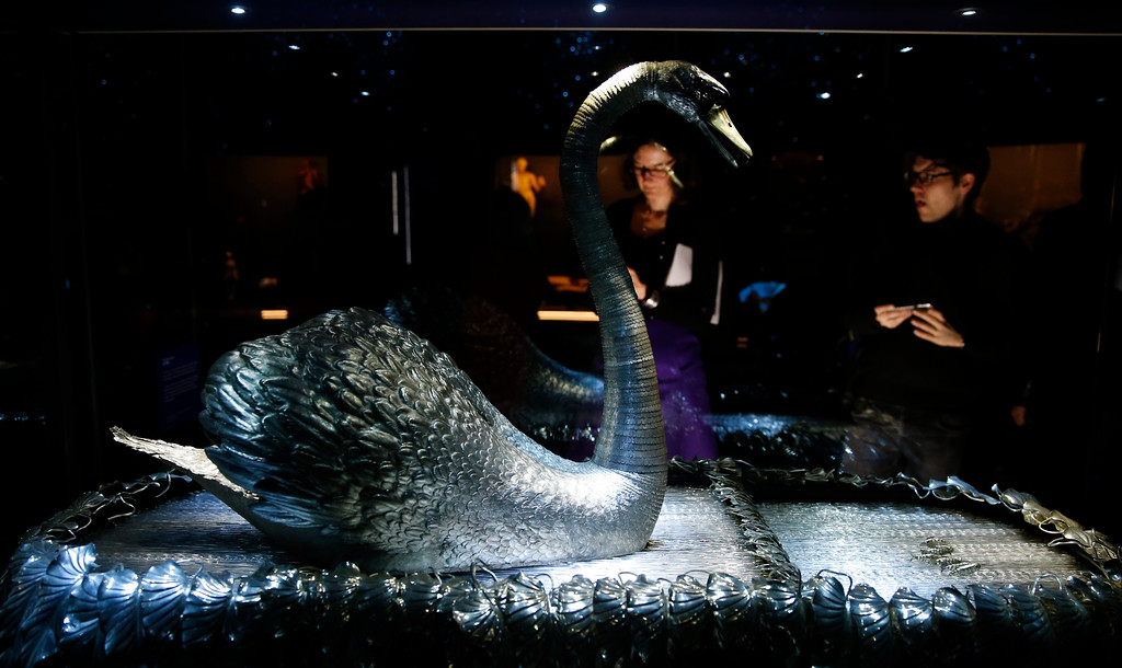 . The mechanical Silver Swan dating from 1774 that have three separate clock work mechanisms by John-Joseph Merlin a Belgian clock maker, during a press preview for the Robots exhibition held at the Science Museum in London, Tuesday, Feb. 7, 2017. The exhibition which shows 500 years of mechanical and robotic advances is open to the public form Feb. 8 through to Sept. 3. (AP Photo/Alastair Grant)