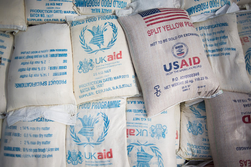 . Sacks of food aid from the World Food Programme donated by the United Kingdom and the United States sit in the back of a truck at the Mugunga III camp for internally displaced persons (IDPs) in the east of the Democratic Republic of the Congo on December 2, 2012.  UN refugee agency officials reported cases of looting and rape in an attack late yesterday on the giant Mugunga camp, which lies about 10 kilometres (six miles) west of Goma and is home to up to 35,000 displaced people. PHIL MOORE/AFP/Getty Images