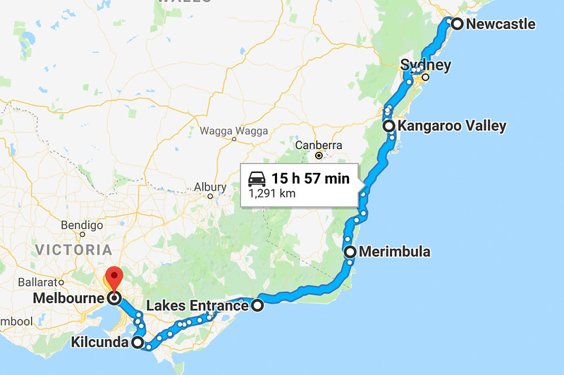 google maps newcastle to melbourne
