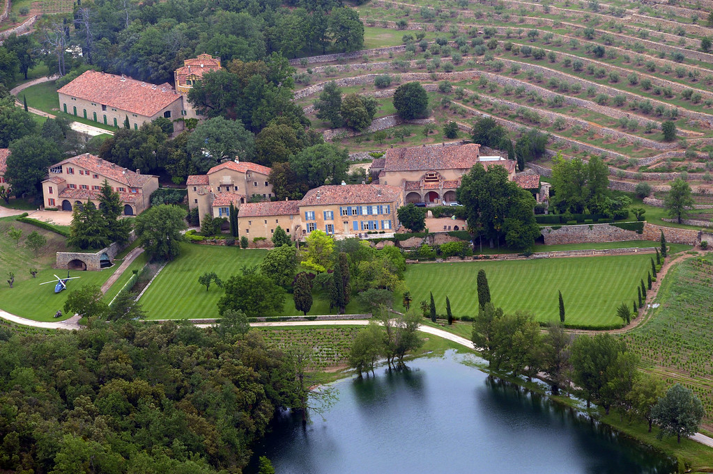 . This file picture dated May 31, 2008 in Le Val, southeastern France, shows an aerial view of the Chateau Miraval, a vineyard estate owned by US actors Brad Pitt and Angelina Jolie.  AFP PHOTO MICHEL GANGNE/AFP/Getty Images