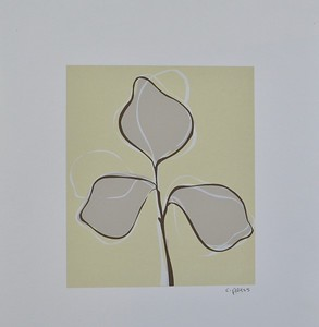 """Floral 131 by C Press, monoprint on 13 1/4"""" x 11"""" paper"""
