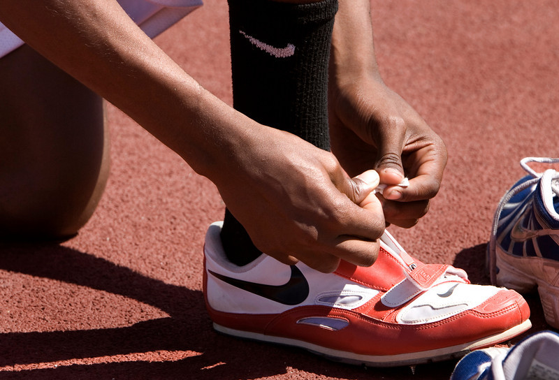 the hands of a triple-jumper.