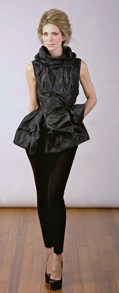 Silk taffeta top with removable cowl, black stretch-wool leggings.