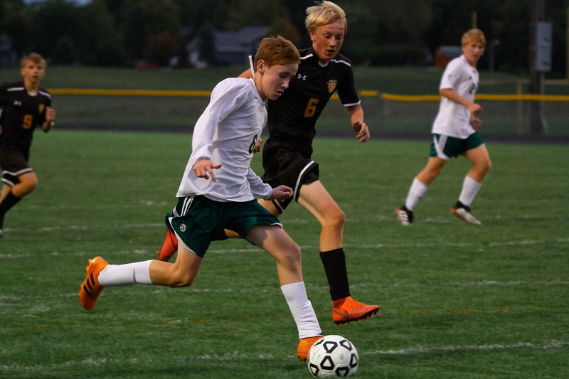 Holy Family Boys Varsity Soccer vs. Hutchinson, 9/26/19: Kaden Dervin '23 (6)