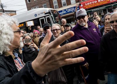 Michael Korn, Bay Ridge activist, addresses the crowd.