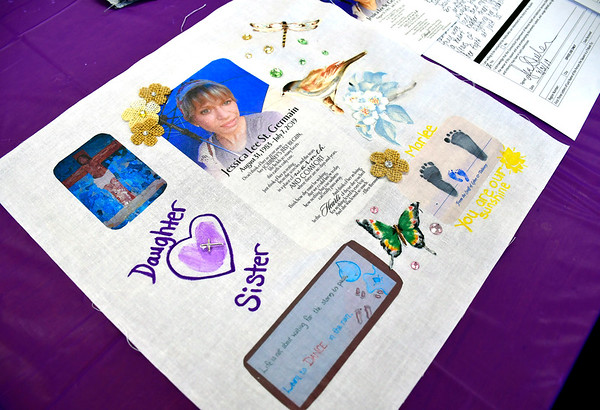 8/31/2019 Mike Orazzi | StaffrA completed square in honor of Jessica Lee St. Germain made by her mother Holly McGloin and her sister June Sheehan during a Remembrance Quilt Square making event at Connecticut Clearinghouse on Farmington Avenue in Plainville on Saturday.