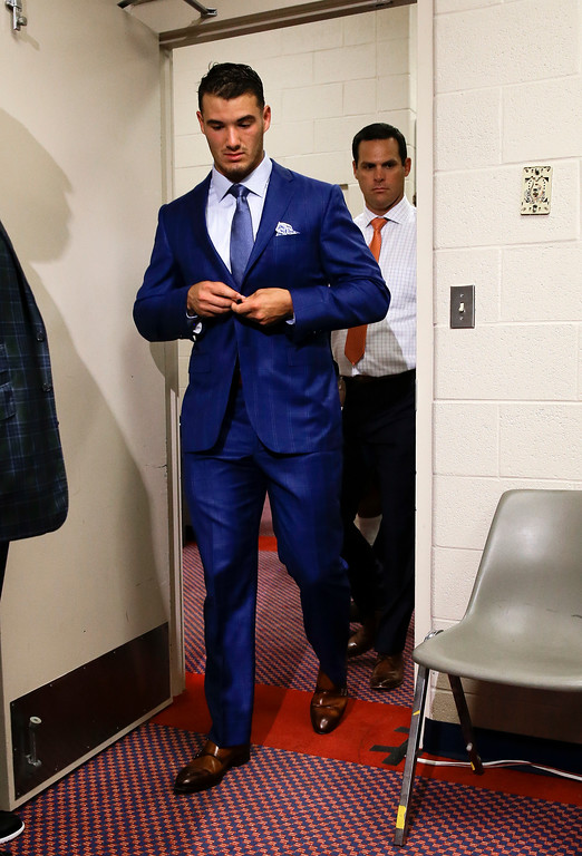 . Chicago Bears quarterback Mitchell Trubisky arrives for a news conference after an NFL football preseason game against the Tennessee Titans Sunday, Aug. 27, 2017, in Nashville, Tenn. The Bears won 19-7. (AP Photo/James Kenney)