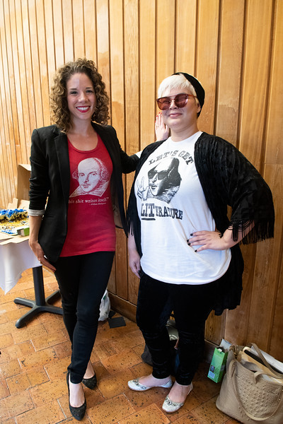 Dr. Kathryn Santos (left) and student Xanthe Lee Vinson show off their Shakespeare attire during the Shakespeare's Birthday Celebration in the Center for the Arts.