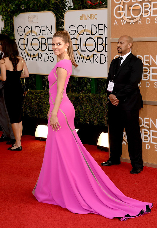 . TV personality Maria Menounos attends the 71st Annual Golden Globe Awards held at The Beverly Hilton Hotel on January 12, 2014 in Beverly Hills, California.  (Photo by Jason Merritt/Getty Images)