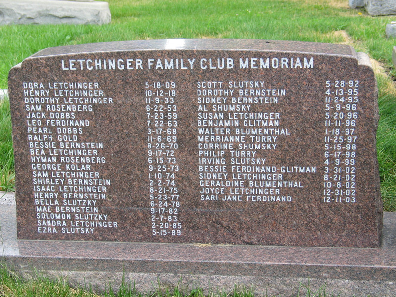 Letchinger Family Club Memoriam