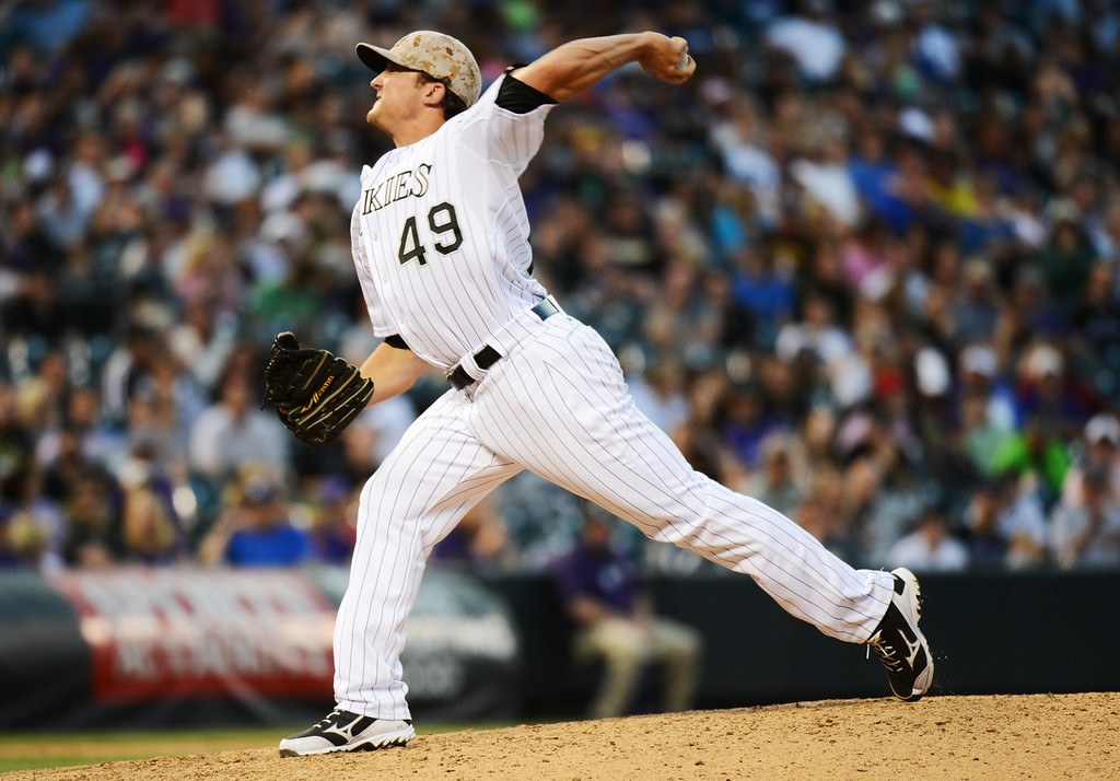 . Denver, CO. - June 08: Rex Brothers of Colorado Rockies pitch in the 9th inning of the game against San Diego Padres at Coors Field. Denver, Colorado. June 8, 2013. San Diego won 4-2. (Photo By Hyoung Chang/The Denver Post)