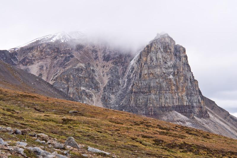 Mount Tekarra in Clouds - Jasper National Park