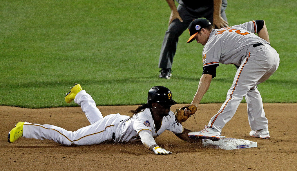 . National League\'s Andrew McCutchen, of the Pittsburgh Pirates, safely steals second under the tag of American Leagueís J.J. Hardy, of the Baltimore Orioles, during the MLB All-Star baseball game, on Tuesday, July 16, 2013, in New York. (AP Photo/Frank Franklin II)