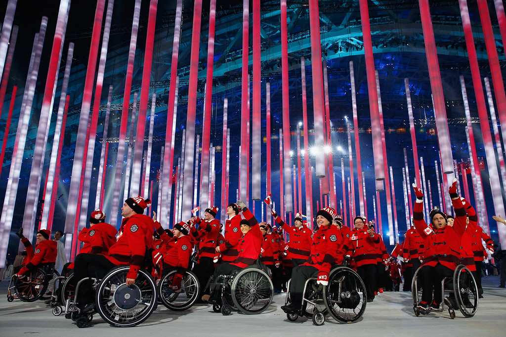 . Canada enters the arena during the Opening Ceremony of the Sochi 2014 Paralympic Winter Games at Fisht Stadium on March 7, 2014 in Sochi, Russia.  (Photo by Tom Pennington/Getty Images)