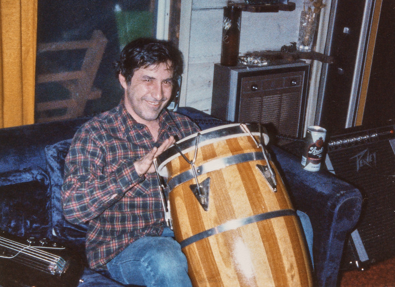 Larry Lebin on the conga drum, Jam at Lebins, March 1, 1980.