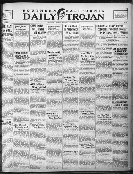 Daily Trojan, Vol. 22, No. 24, October 15, 1930
