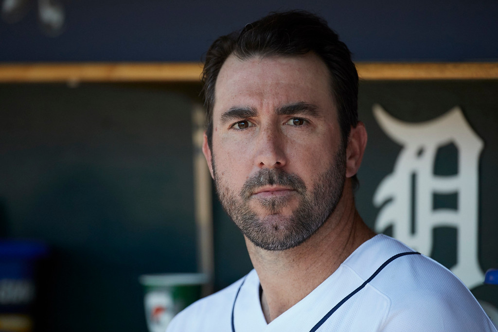 . Detroit Tigers starting pitcher Justin Verlander sits in dugout against the Cleveland Indians during the first inning of a baseball game in Detroit, Sunday, July 2, 2017. (AP Photo/Rick Osentoski)