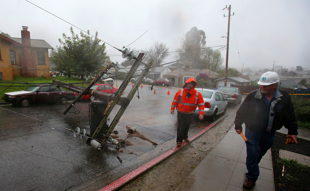 . Workers with PG&E survey damage after a tree knocked down a utility pole along Tanager Ave. on Thursday, Dec. 11, 2014, in San Leandro, Calif.   (Aric Crabb/Bay Area News Group)