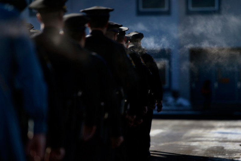 . The Douglas County Sheriff\'s march in formation to the public memorial service for Tom Clements at the New Life Church in Colorado Springs. March 25, 2013 Colorado Springs, Colorado. (Photo By Joe Amon/The Denver Post)