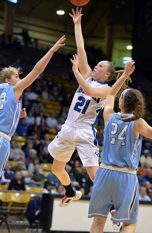 . Broomfield\'s Nicole Lehrer goes to the basket  against Valor Christian\'s Caroline Bryan and Madi Waldon during the final four 4A state game at Coors Event Center. (David R. Jennings/Broomfield Enterprise)