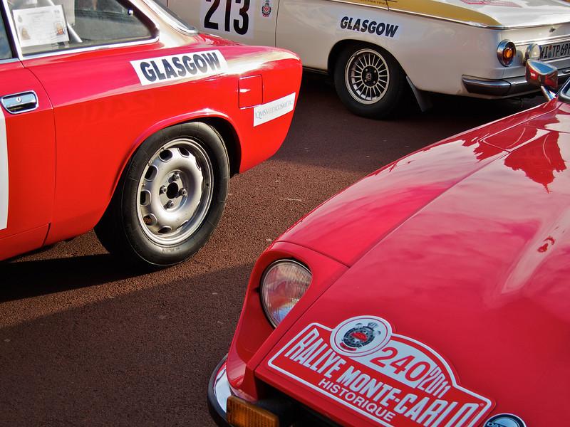 Alfa Romeo GTA, BMW 2002 (?) and Datsun 240Z or 260Z