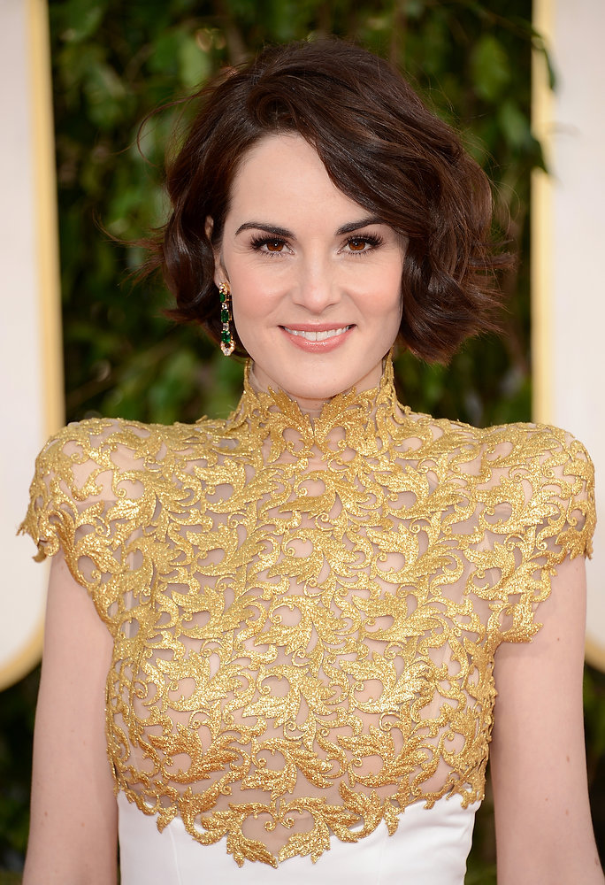Description of . Actress Michelle Dockery arrives at the 70th Annual Golden Globe Awards held at The Beverly Hilton Hotel on January 13, 2013 in Beverly Hills, California.  (Photo by Jason Merritt/Getty Images)