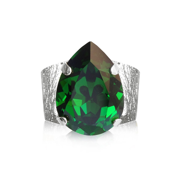 Classic Drop Ring / Dark Moss Green / rhodium
