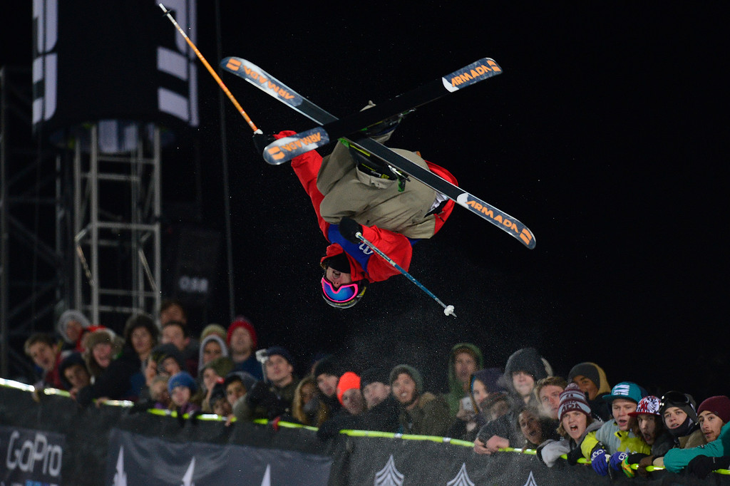. Alex Ferreira flips on his third run during the finals of men\'s ski halfpipe at Winter X Games 2016 at Buttermilk Mountain on January 28, 2016 in Aspen, Colorado. Kevin Rolland took the gold in the event with a score of 93.33 with the win coming after his final run. (Photo by Brent Lewis/The Denver Post)