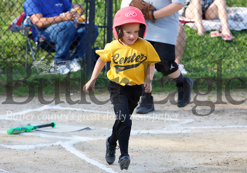 Emalee Rice of the 4-6-year-old Center Township Pirates races to first base after a big hit. Seb Foltz/Butler Eagle
